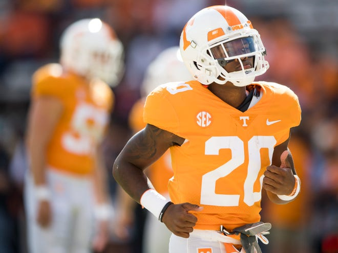 Tennessee defensive back Bryce Thompson (20) before the Tennessee Volunteers' game against Alabama in Neyland Stadium on Saturday, October 20, 2018.
