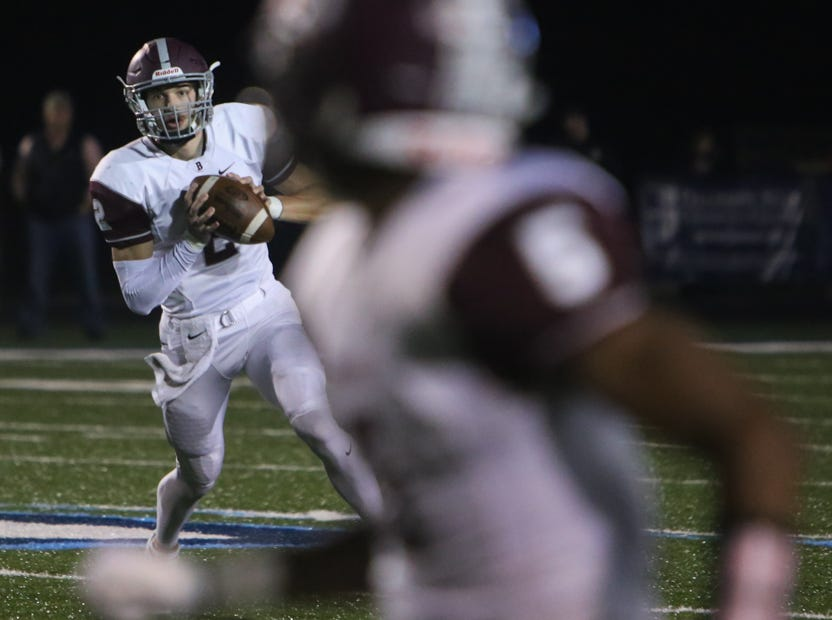 Bearden's Collin Ironside looks to pass (2) during the Hardin Valley versus Bearden high school football game at Hardin Valley in Knoxville Friday Oct. 19, 2018.