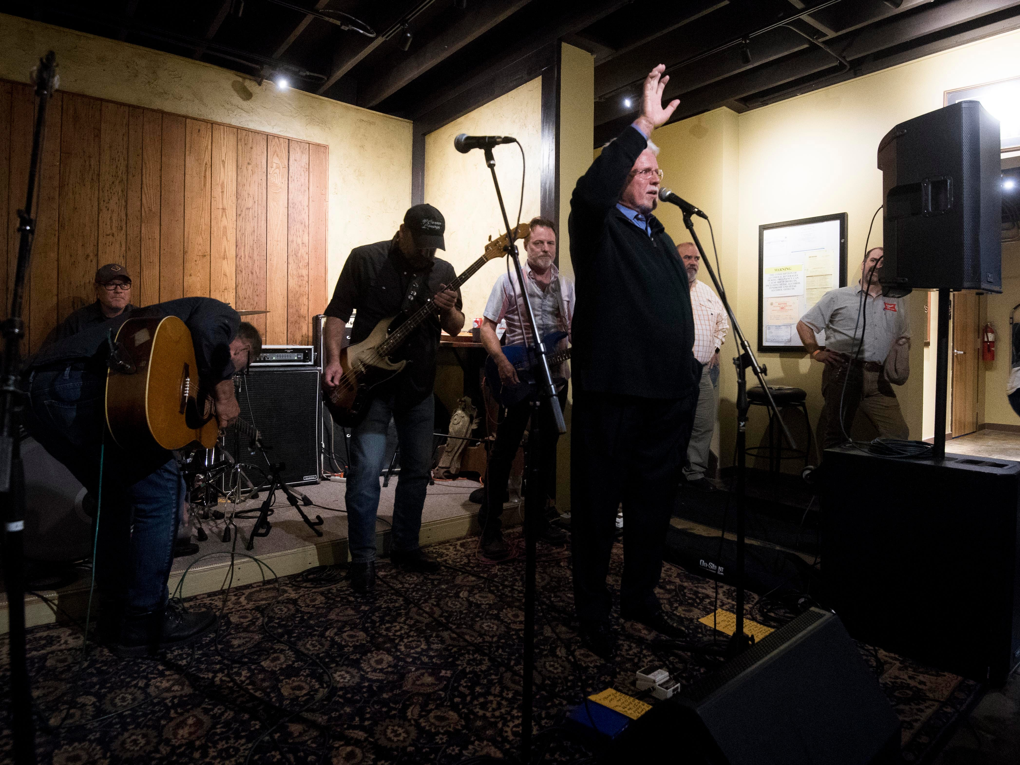 Con Hunley greets the crowd as he takes the stage again at The Corner Lounge on Friday, October 19, 2018.