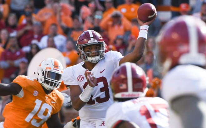 Alabama quarterback Tua Tagovailoa (13) throws a pass during a game between Tennessee and Alabama at Neyland Stadium in Knoxville, Tennessee on Saturday, October 20, 2018.