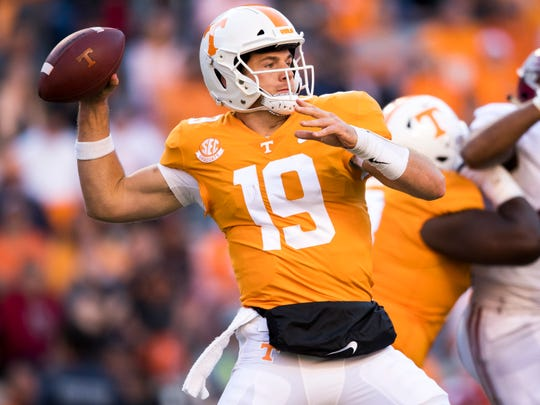 Tennessee quarterback Keller Chryst (19) throws the ball during the Tennessee Volunteers' game against Alabama in Neyland Stadium on Saturday, October 20, 2018.