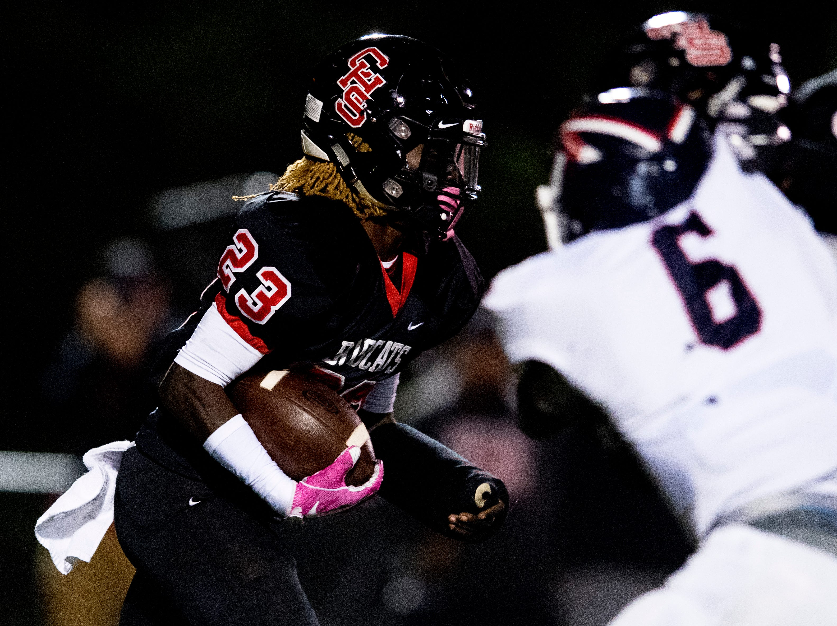 Central's Trey'sean Moore (23) runs with the ball during a football game between Central and South-Doyle at Central High School in Knoxville, Tennessee on Friday, October 19, 2018.