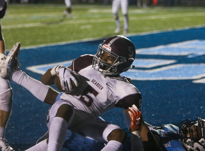Bearden's Kalil Abdullah (5) makes an interception in Hardin Valley's endzone at the end of the second quarter during the Hardin Valley versus Bearden high school football game at Hardin Valley in Knoxville Friday Oct. 19, 2018.