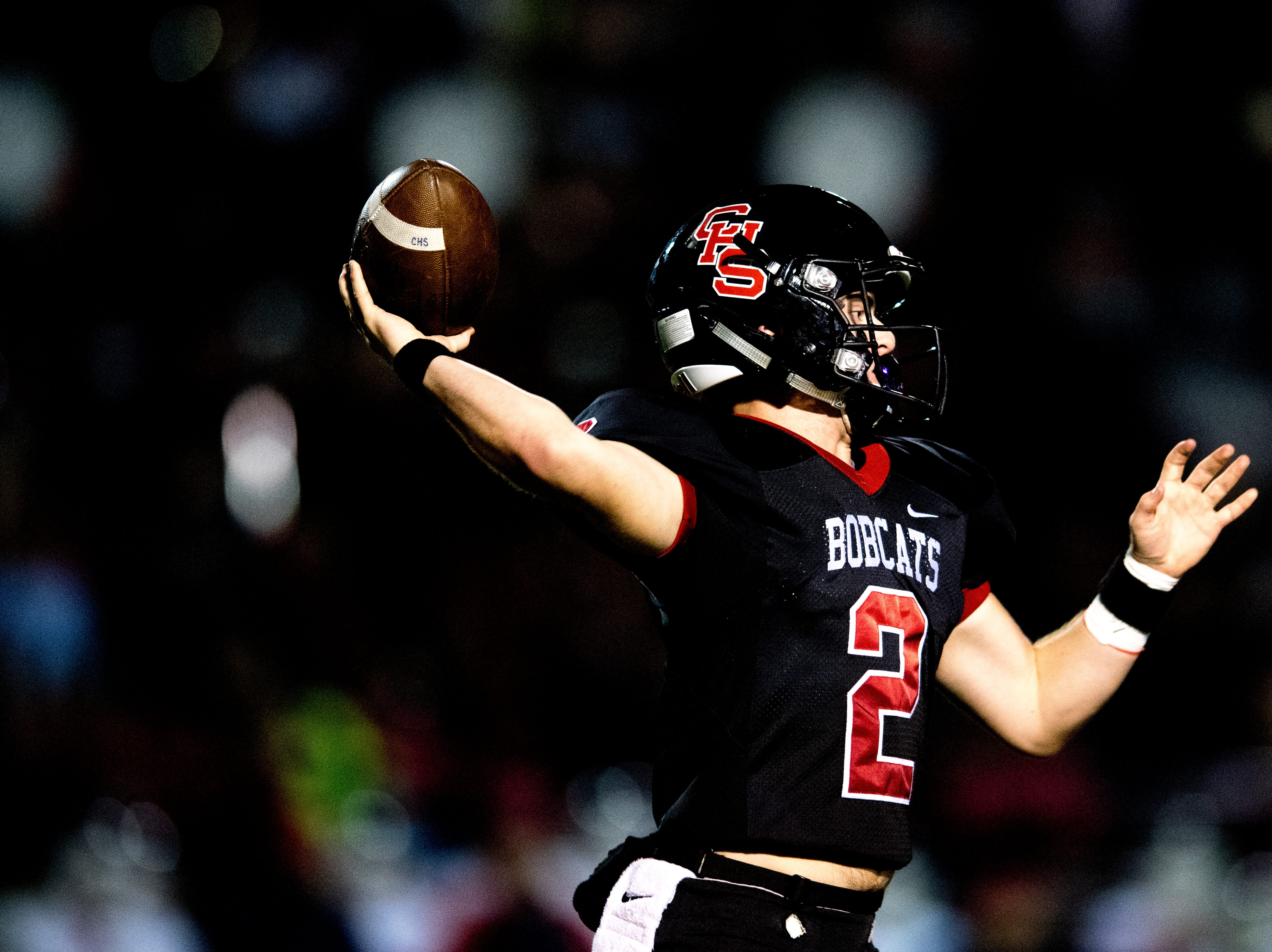 Central's Dakota Fawver (2) throws a pass during a football game between Central and South-Doyle at Central High School in Knoxville, Tennessee on Friday, October 19, 2018.
