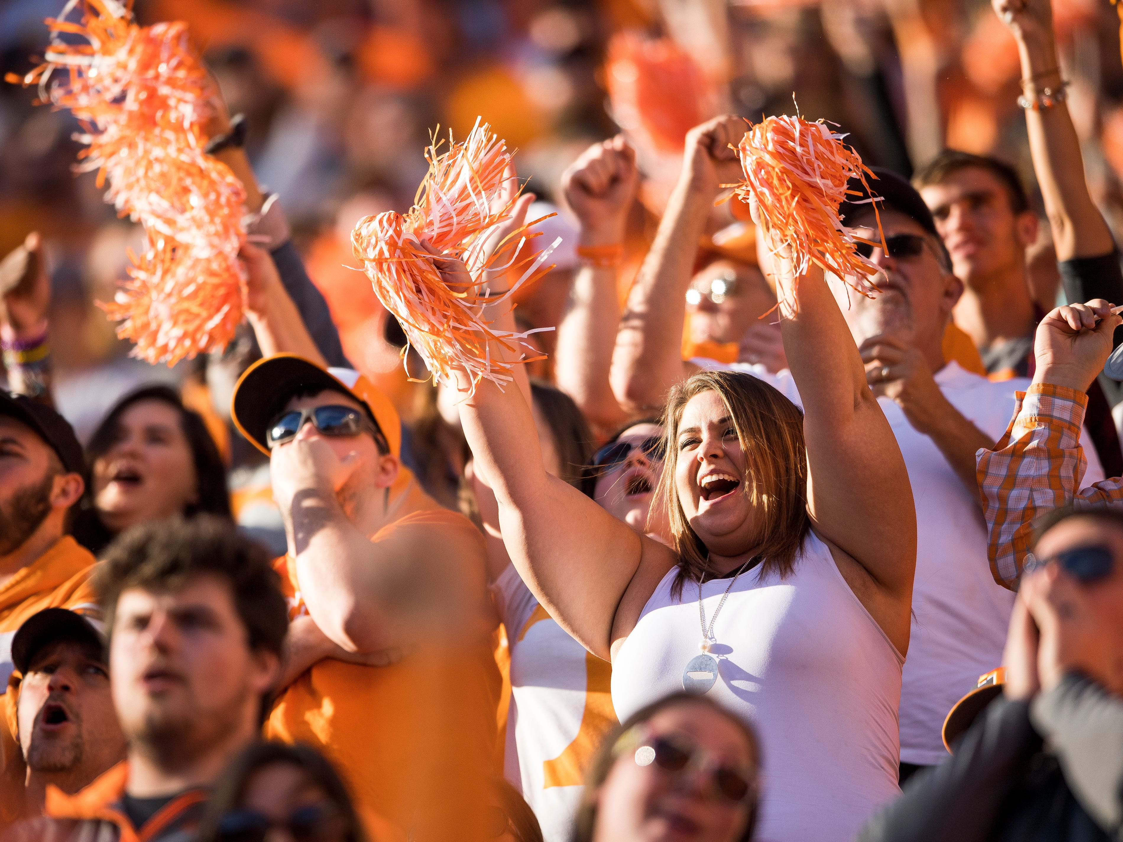 Fans cheer after Tennessee scores its first touchdown during the Tennessee Volunteers' game against Alabama in Neyland Stadium on Saturday, October 20, 2018.