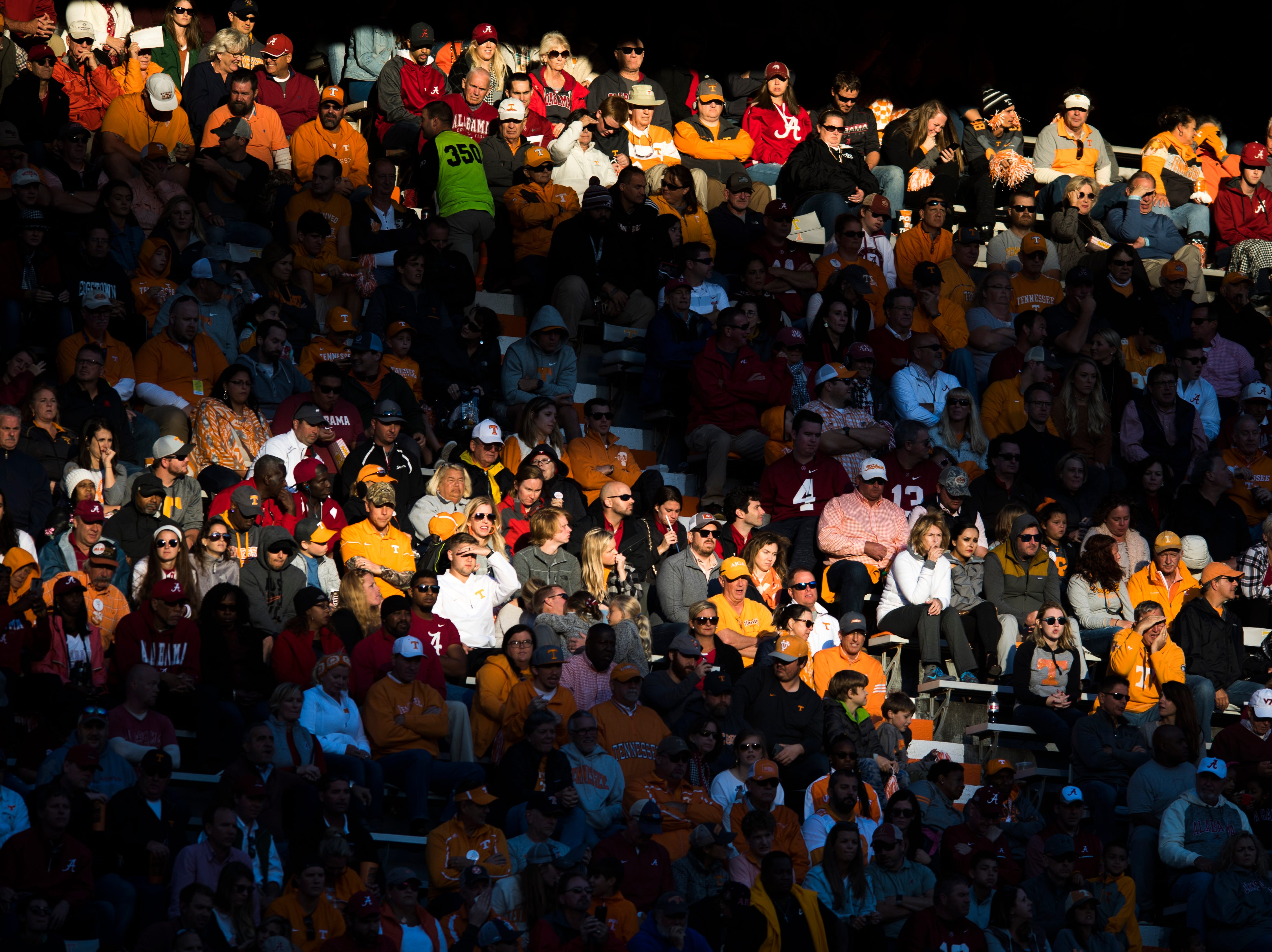 Sunlight falls on the stands during a game between Tennessee and Alabama at Neyland Stadium in Knoxville, Tennessee on Saturday, October 20, 2018.
