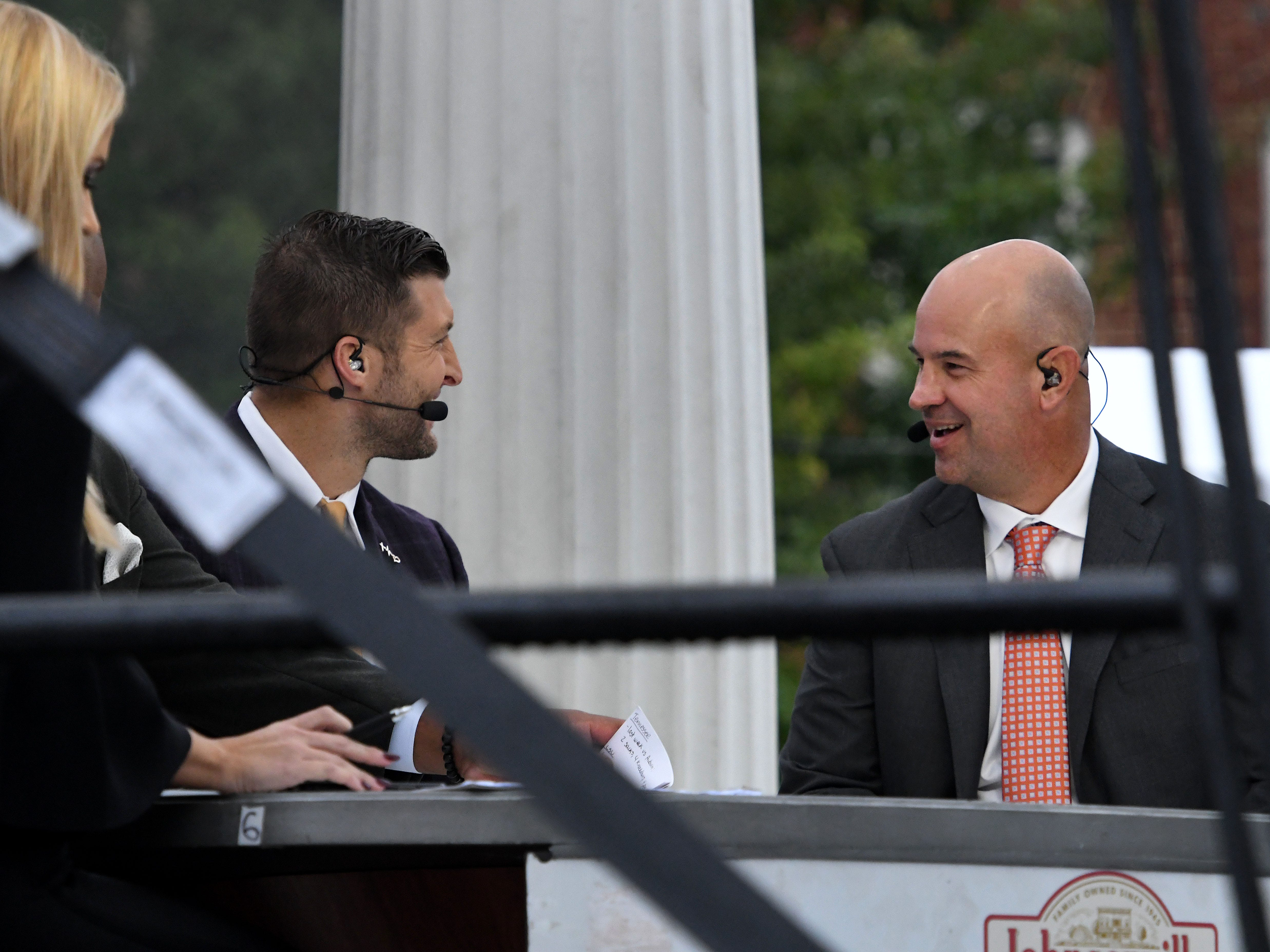 Tennessee Head Coach Jeremy Pruitt talks with Tim Tebo on the SEC Nation show at Ayers Hall before the Alabama game Saturday, October 20, 2018 at Neyland Stadium in Knoxville, Tenn.
