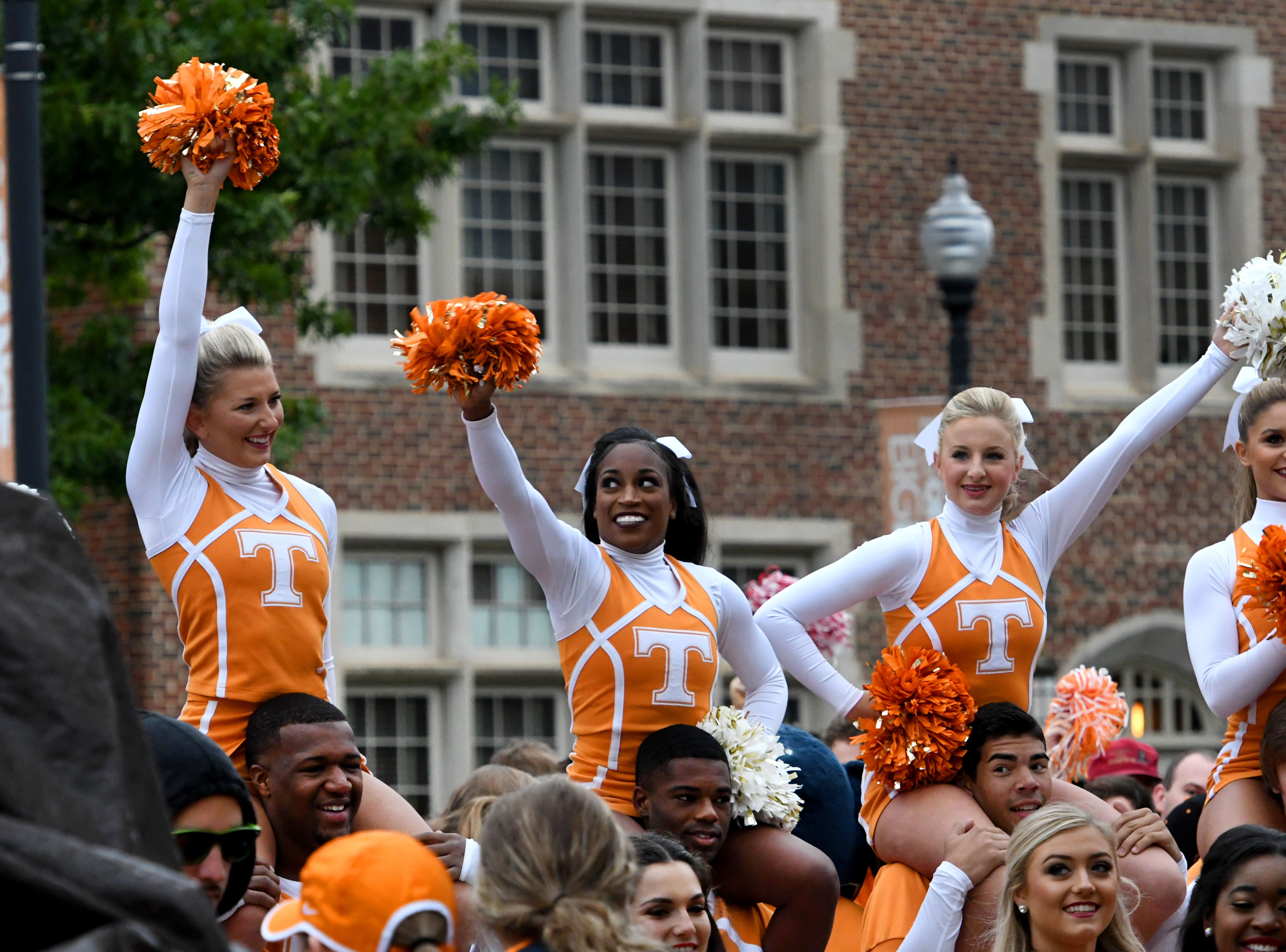 Tennessee cheerleaders during the SEC Nation show at Ayers Hall before the Alabama game Saturday, October 20, 2018 at Neyland Stadium in Knoxville, Tenn.