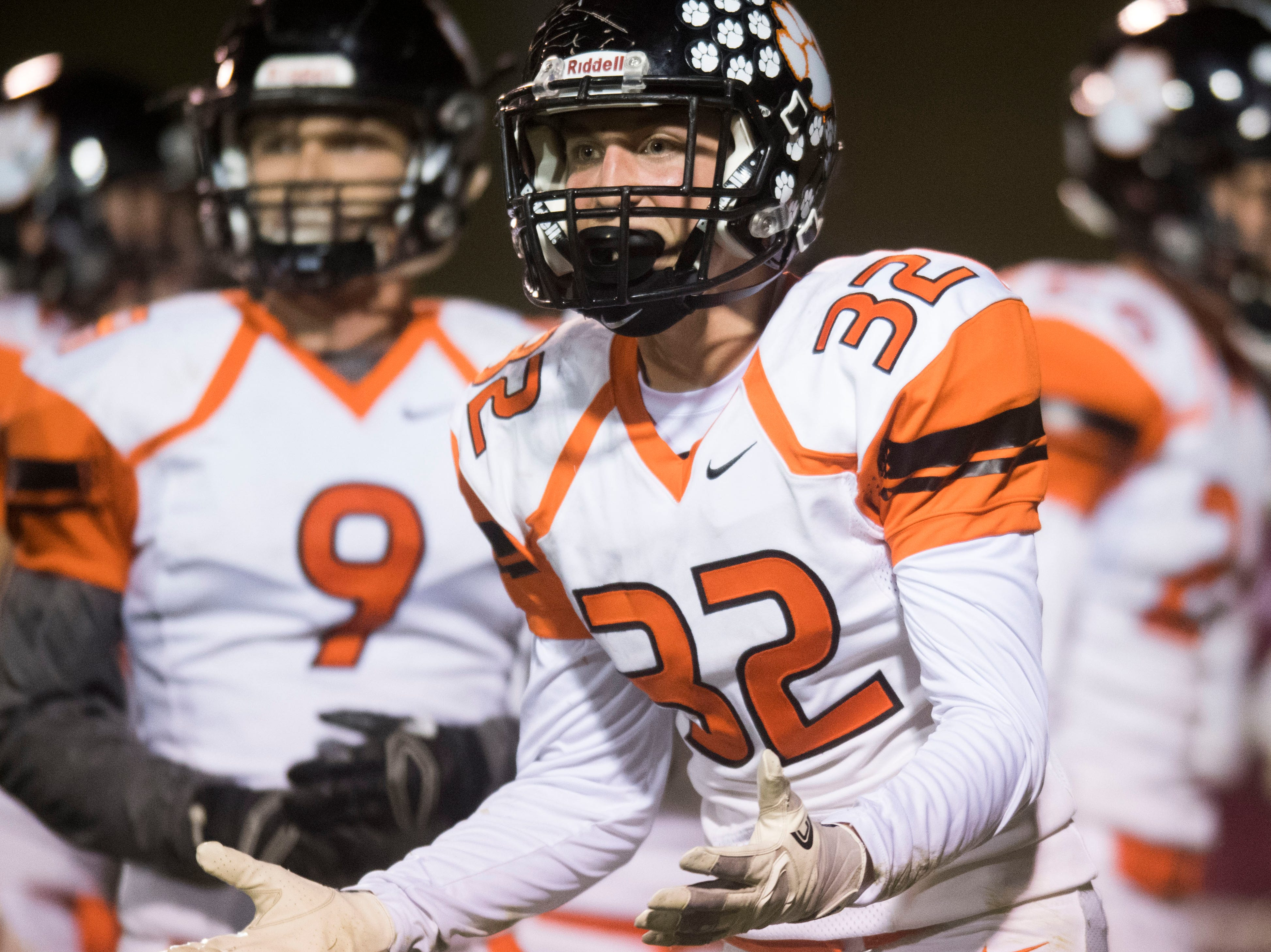 Powell's Hayden Epperson (32) disagrees with a call during a game between Oak Ridge and Powell at Oak Ridge Friday, Oct. 19, 2018. Oak Ridge defeated Powell 28-21.