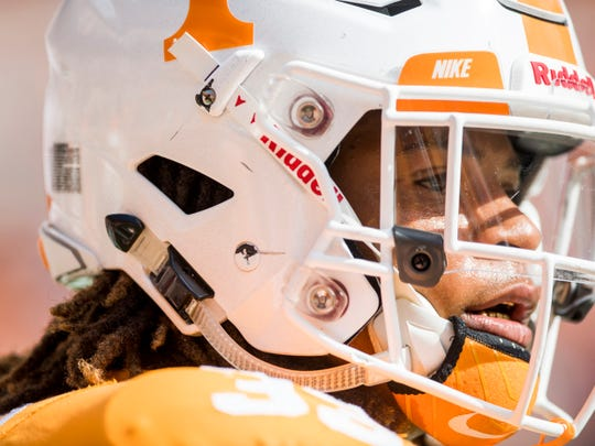 Tennessee running back Jeremy Banks (33) before the Tennessee Volunteers' game against Alabama in Neyland Stadium on Saturday, October 20, 2018.