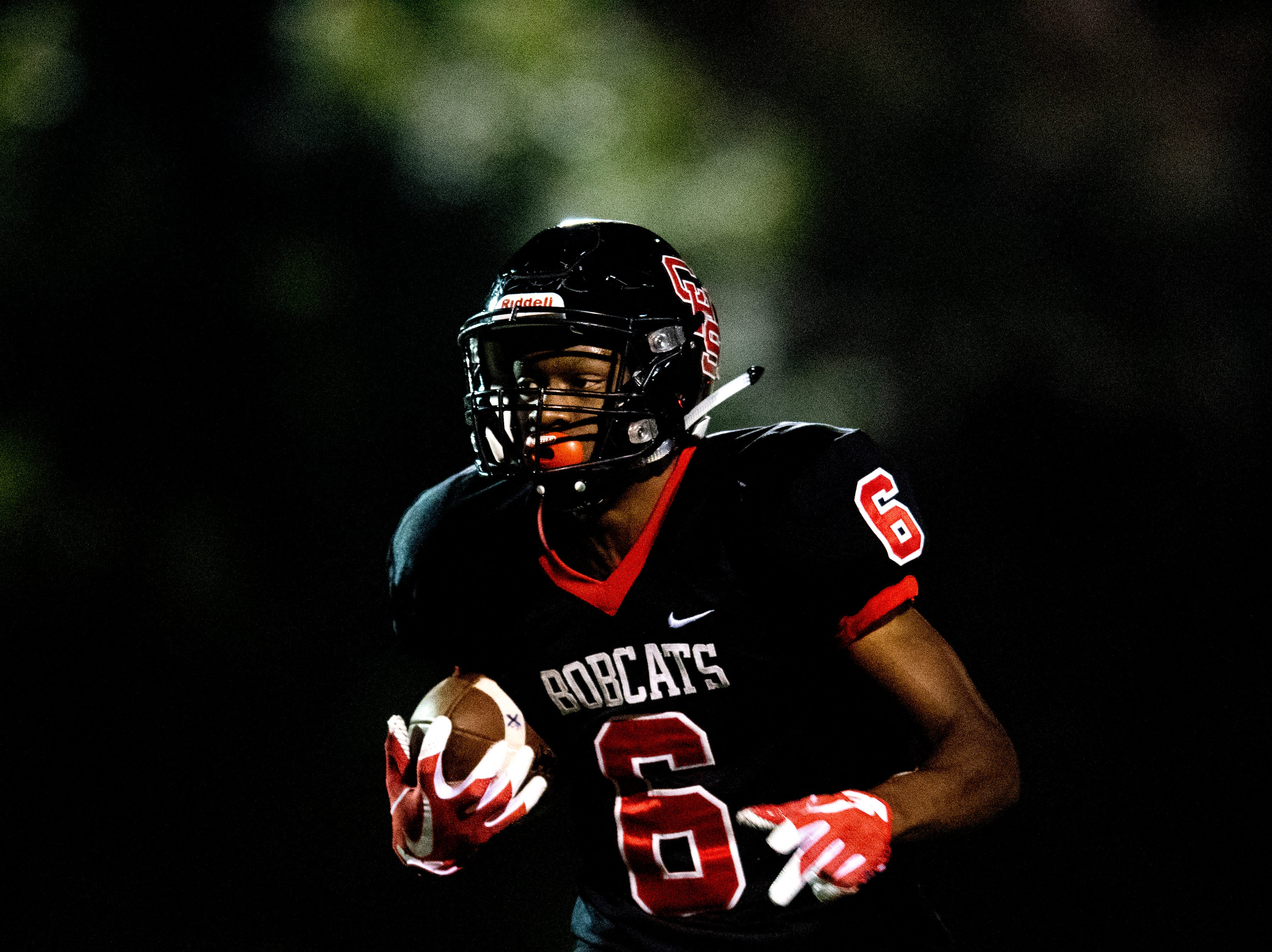 Central's Demetrien Johnson (6) runs with the ball during a football game between Central and South-Doyle at Central High School in Knoxville, Tennessee on Friday, October 19, 2018.