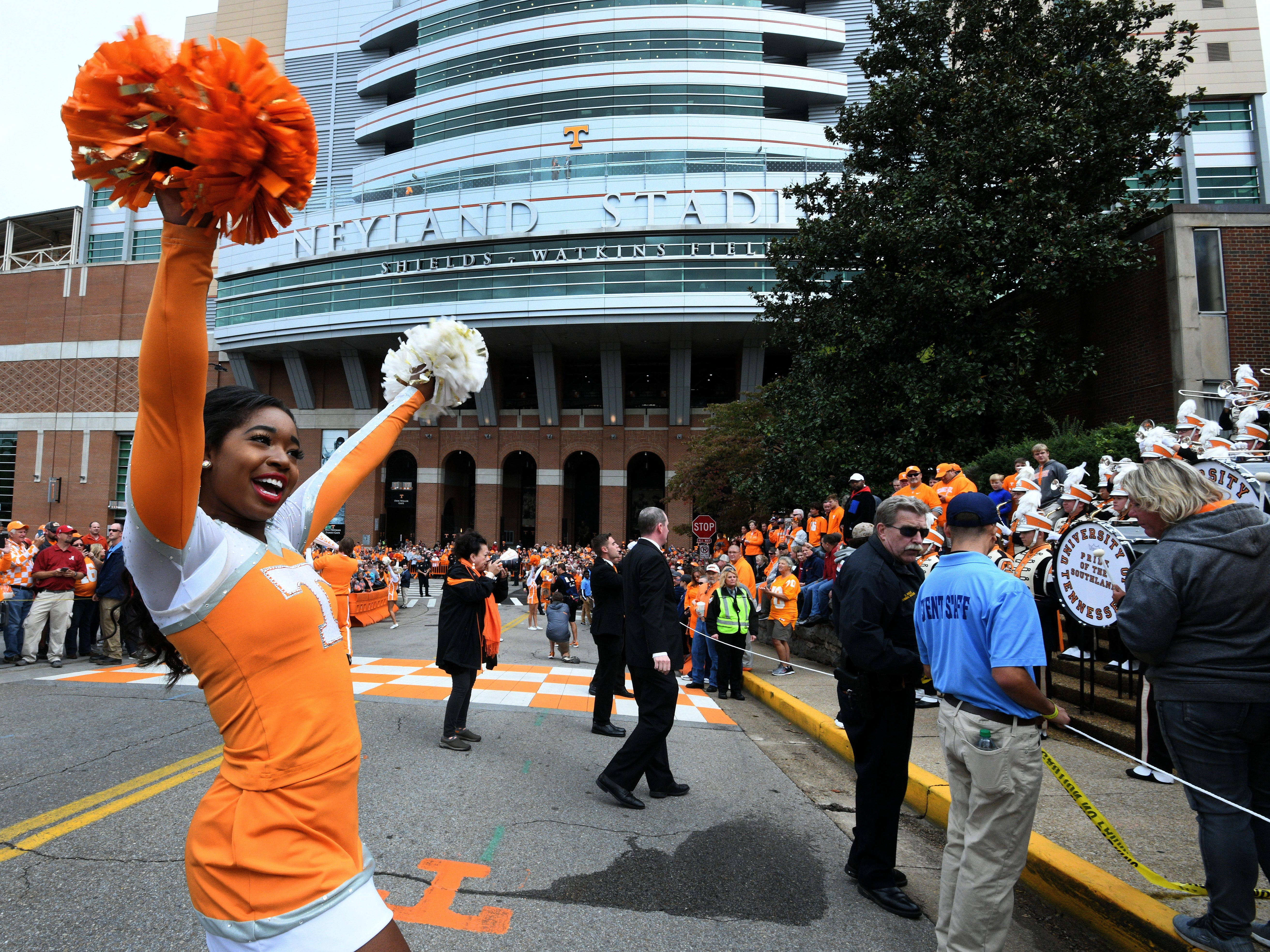 Tennessee cheerleader preparing fans for the Vol Walk  before the Alabama game Saturday, October 20, 2018 at Neyland Stadium in Knoxville, Tenn.