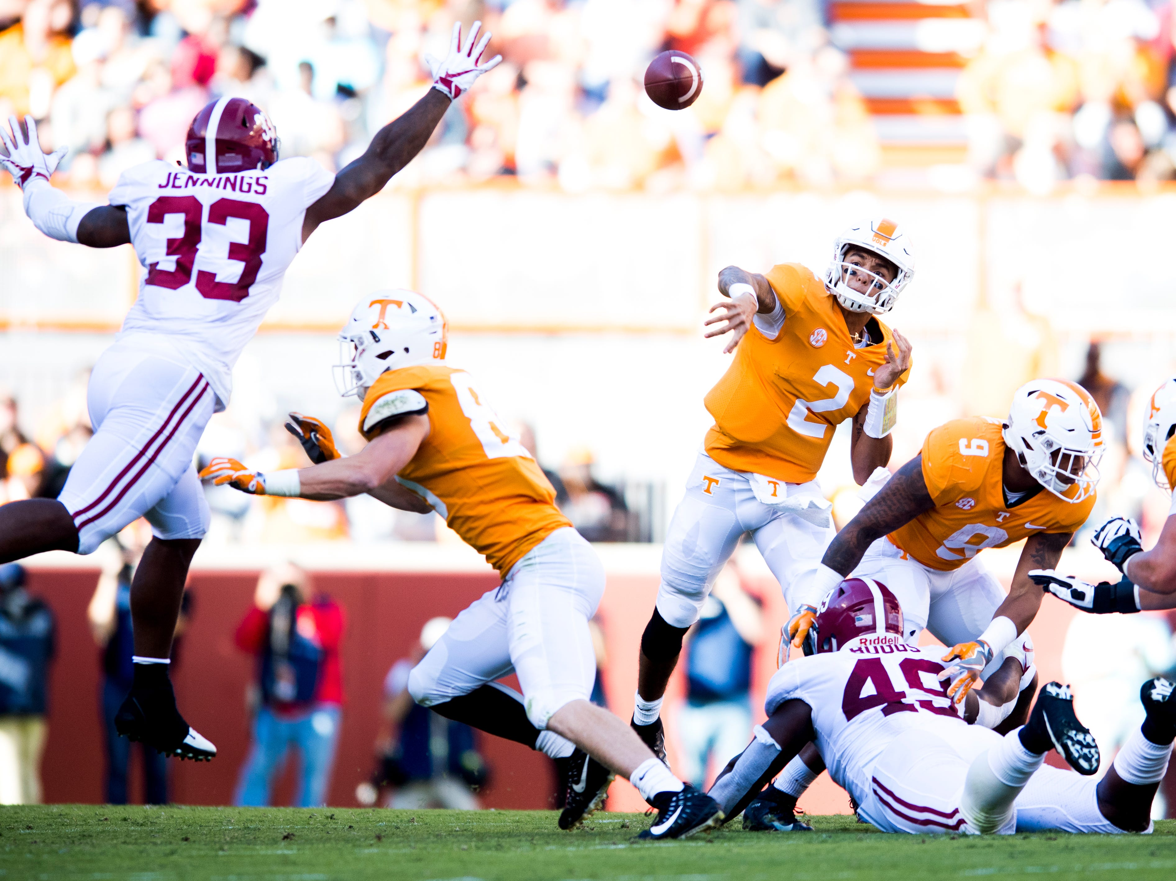 Tennessee quarterback Jarrett Guarantano (2) throws a pass down the field during a game between Tennessee and Alabama at Neyland Stadium in Knoxville, Tennessee on Saturday, October 20, 2018.