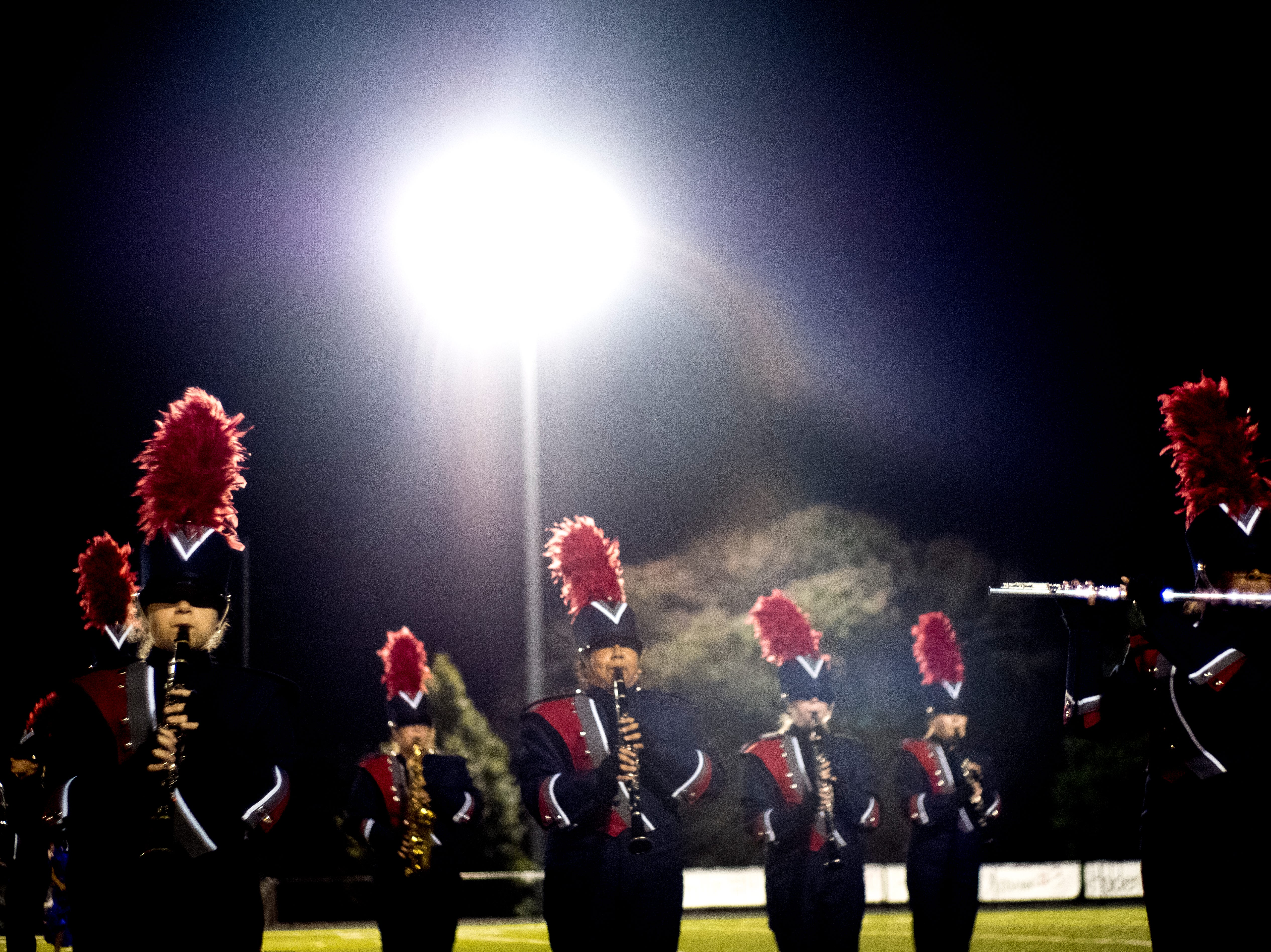 The South-Doyle Marching Band performs during a football game between Central and South-Doyle at Central High School in Knoxville, Tennessee on Friday, October 19, 2018.