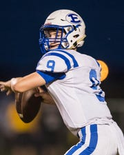 Erath's quarterback Luke Leblanc drops back to pass the ball on Friday night October 19, 2018. /Buddy Delahoussaye Special to the Advertiser