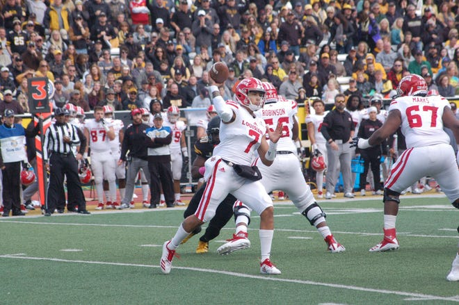 UL quarterback Andre Nunez throws a pass against Appalachian State during the first quarter of Saturday's game.