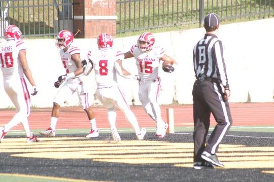 UL's Elijah Mitchell (15) celebrates a 38-yard touchdown Saturday vs. Appalachian State. Oct. 20, 2018