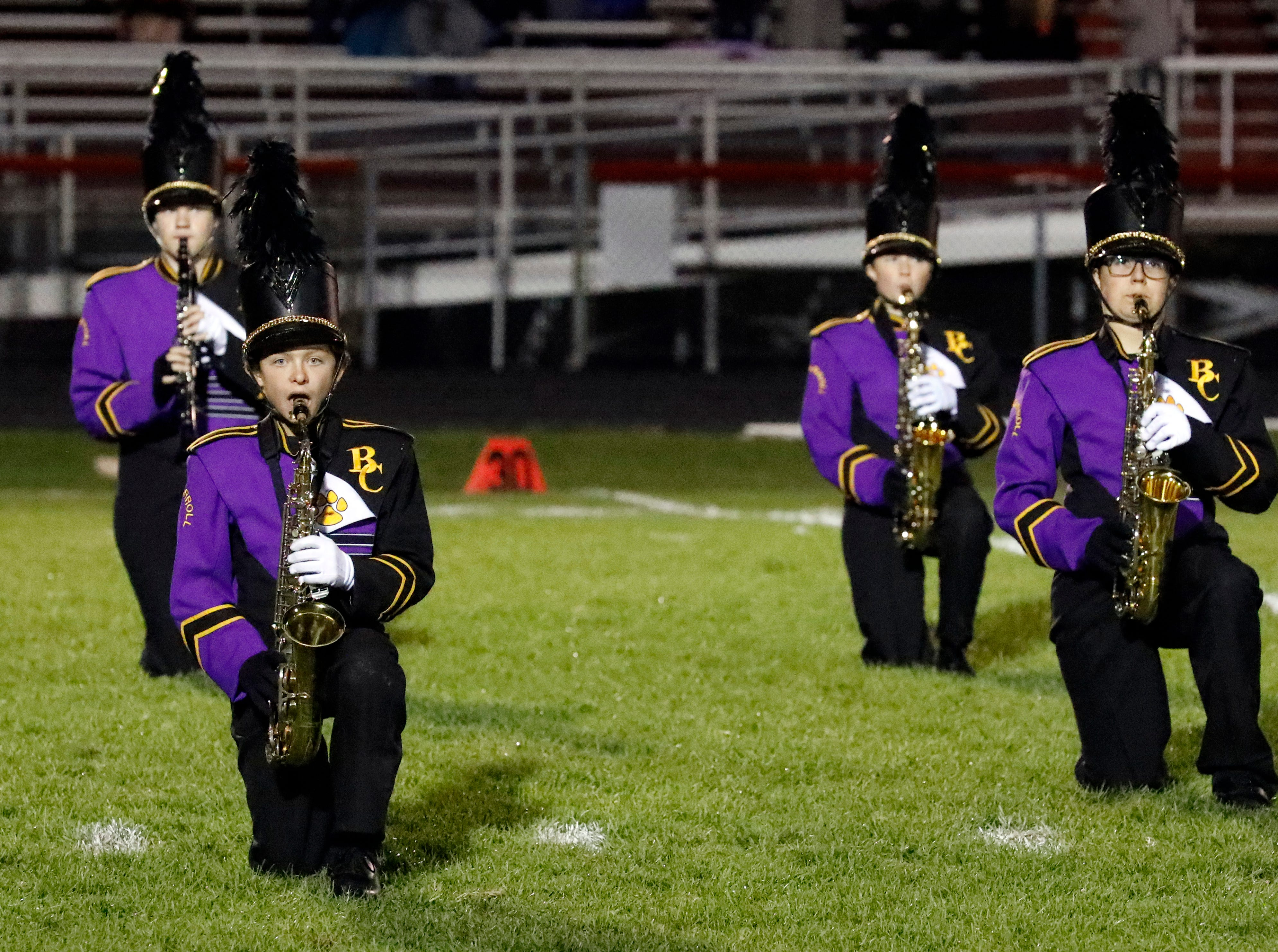 The Bloom-Carroll High School marching band perform during halftime at Friday night's football game, Oct. 19, 2018, at Fairfield Union High School in Rushville.