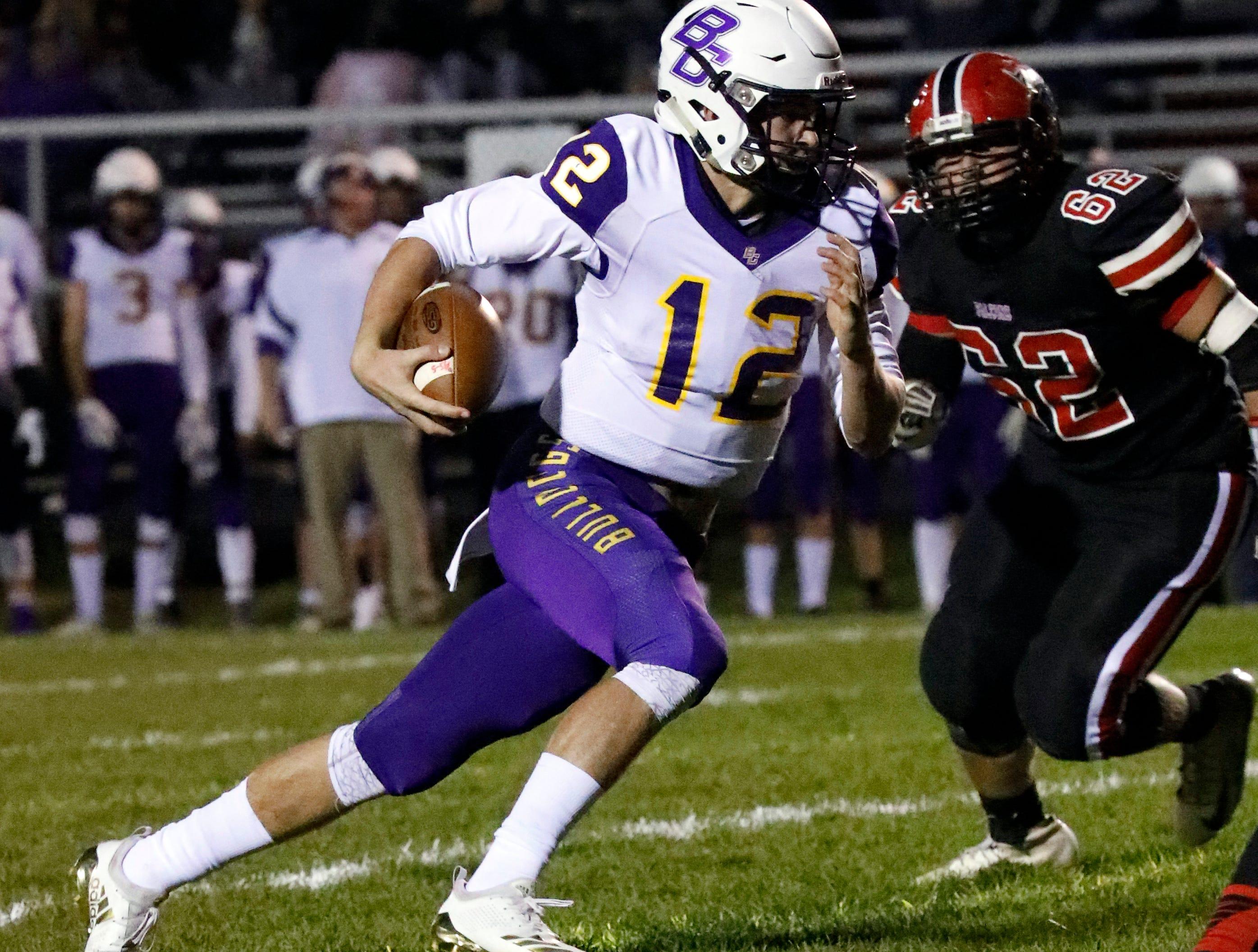 Bloom-Carroll's Otto Kuhns runs the ball Friday night, Oct. 19, 2018, at Fairfield Union High School in Rushville. The Bulldogs defeated Fairfield Union 44-7.