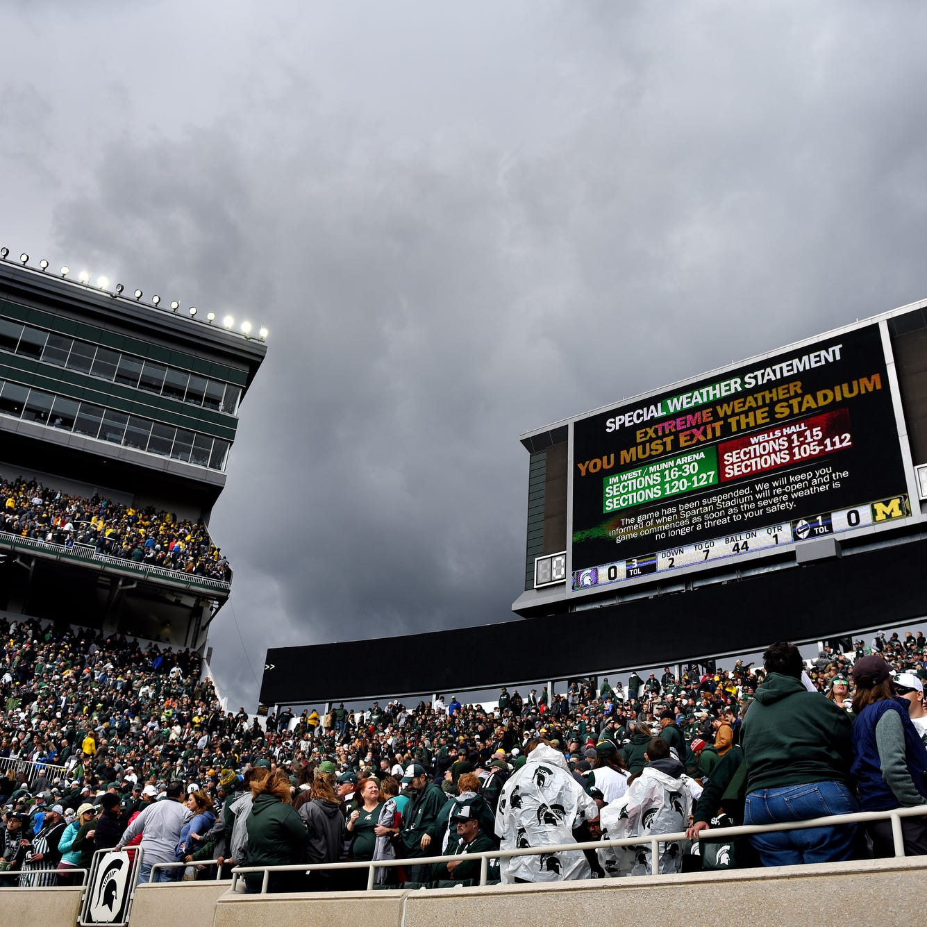 Michigan State-Michigan football game resumes after weather delay at Spartan Stadium