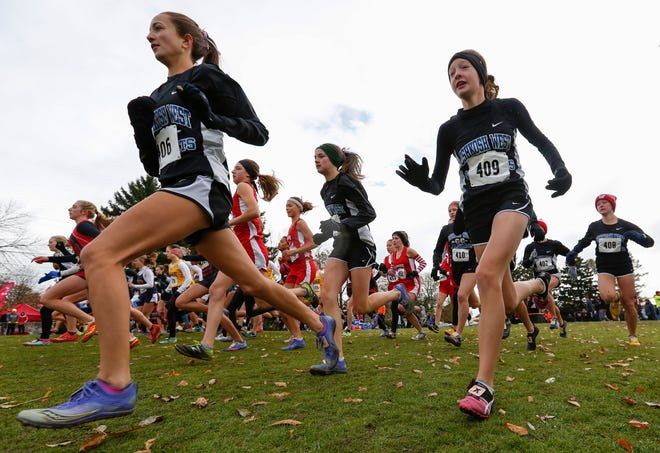 Oshkosh West runners start the division 1 WIAA cross country sectional meet at Meadow Links Golf Course Saturday, October 20, 2018, in Manitowoc, Wis. Joshua Clark/USA TODAY NETWORK-Wisconsin