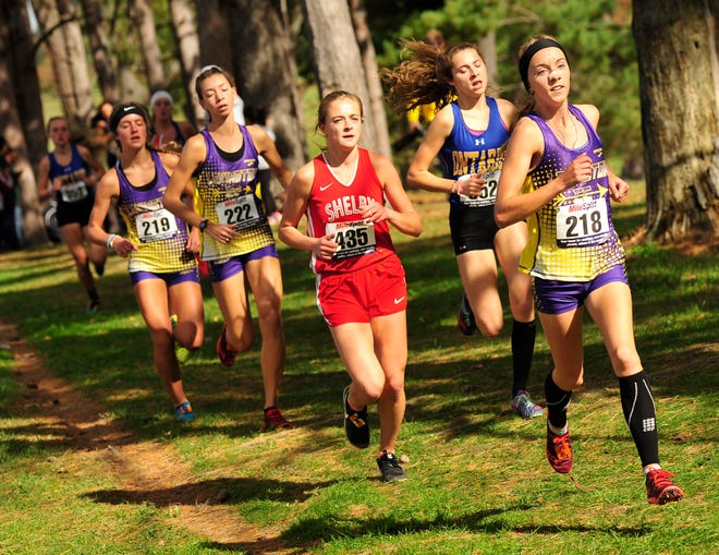 Lexington's Joanna Halfhill leads the pack during the Cross Country District Tournament at Galion on Saturday.