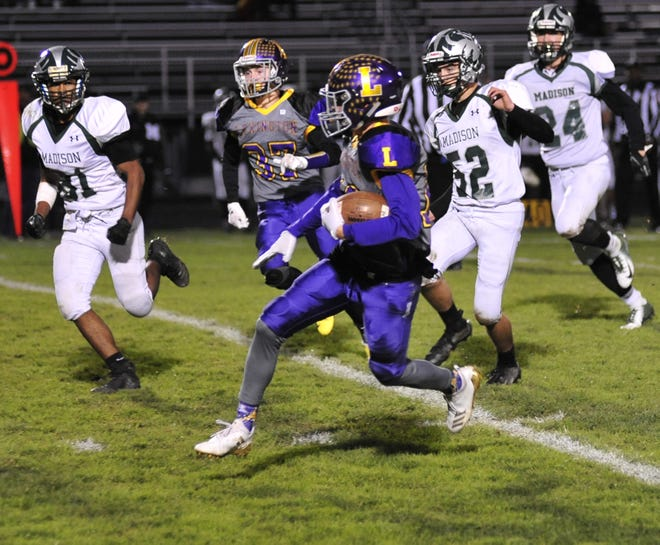 Lexington's Alex Green spent the first half running away from the Madison Rams, scoring on runs of 42 and 55 yards in the 42-16 victory.