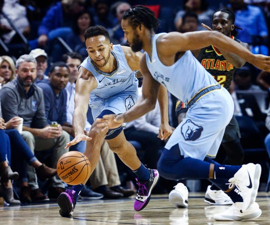 Memphis Grizzlies forward Kyle Anderson grabs a loose ball against the Atlanta Hawks during action of their home-opener at the FedExForum in Memphis, Tenn., Friday, October 19, 2018.