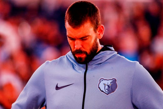 Memphis Grizzlies center Marc Gasol before action against the Atlanta Hawks in their home-opener at the FedExForum in Memphis, Tenn., Friday, October 19, 2018.