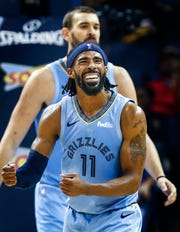 Memphis Grizzlies guard Mike Conley reacts after being called for a foul against the Atlanta Hawks during action of their home-opener at the FedExForum in Memphis, Tenn., Friday, October 19, 2018.