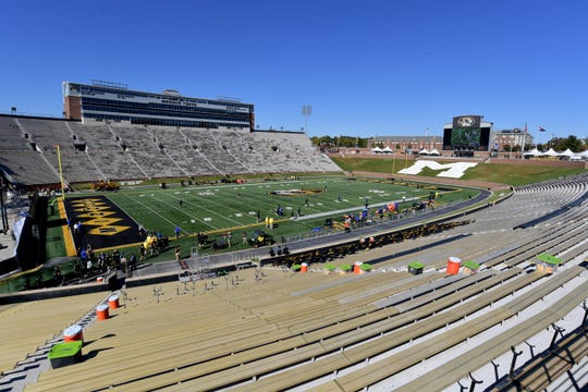 Oct 20, 2018; Columbia, MO, USA; A general view of the stadium as players start to warm up before the game between the Missouri Tigers and Memphis Tigers at Memorial Stadium/Faurot Field.