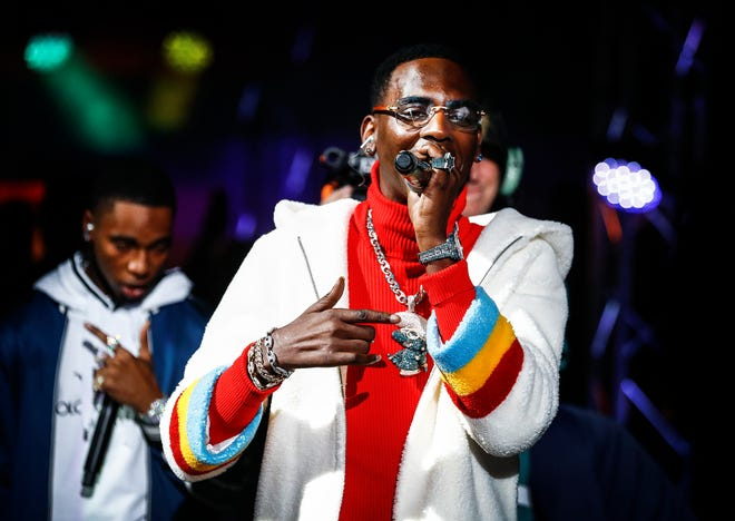 Rapper Young Dolph performs before a Memphis Grizzlies at FedExForum in 2018.
