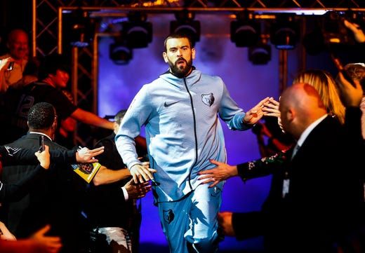 Memphis Grizzlies center Marc Gasol is introduced during player introduction before taking on the Atlanta Hawks in their home-opener at the FedExForum in Memphis, Tenn., Friday, October 19, 2018.