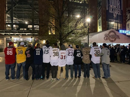 A fleet of Kratz jerseys representing Philadelphia, Pittsburgh, Cleveland, San Diego, Toronto and Houston arrived at NLCS Game 6, worn by (from left) Ryan Swartzentruber, Chris Severs, Greg Grimm, Matt Clemmer, Jesse Bergey, Michael Zook, Joel Daly, Bob Steury, Zach Stark, Casey Severs and Barnaby Quick. Not pictured: Ryan Waltrip (he was in a Cleveland jersey).