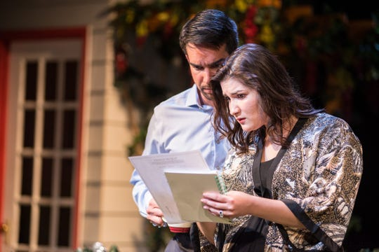"""Andrew Joseph Perez and Kelsey Elyse Rodriguez learn something surprising in """"Native Gardens,"""" performed by Renaissance Theaterworks."""