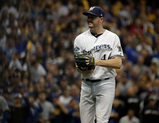 Brewers relief pitcher Corey Knebel pitches in the sixth inning.