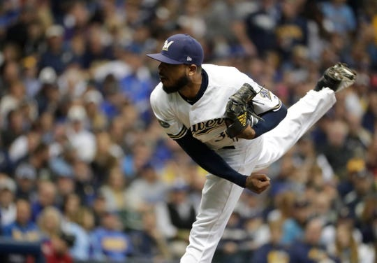 Milwaukee Brewers relief pitcher Jeremy Jeffress (32) in the 7th inning. The Brewers play the Los Angeles Dodgers in Game 6 of the National League Championship Series baseball game Friday, October 19, 2018 at Miller Park in Milwaukee, Wis.  