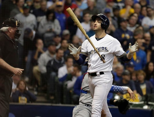 Milwaukee Brewers left fielder Ryan Braun (8) after striking out in the 8th inning. The Brewers play the Los Angeles Dodgers in Game 6 of the National League Championship Series baseball game Friday, October 19, 2018 at Miller Park in Milwaukee, Wis.  