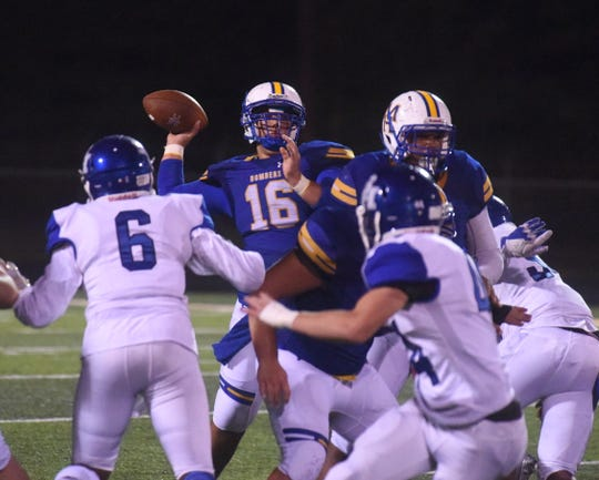 Mountain Home's Dawson Tabor passes against Sylvan Hills on Friday night.