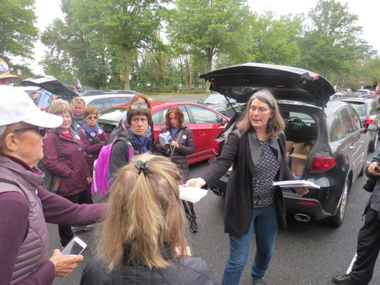 Mikie Sherrill campaign canvassers from NJ 11th for Change gather at the Parsippany Library. Oct. 20, 2018