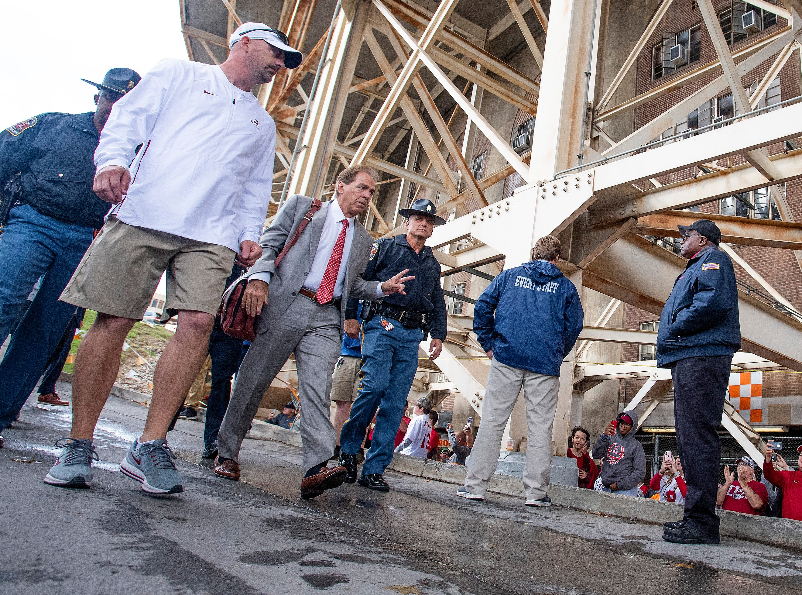 Alabama head coach Nick Saban arrives for the Tennessee game at Neyland Stadium in Knoxville, Tn., on Saturday October 20, 2018.