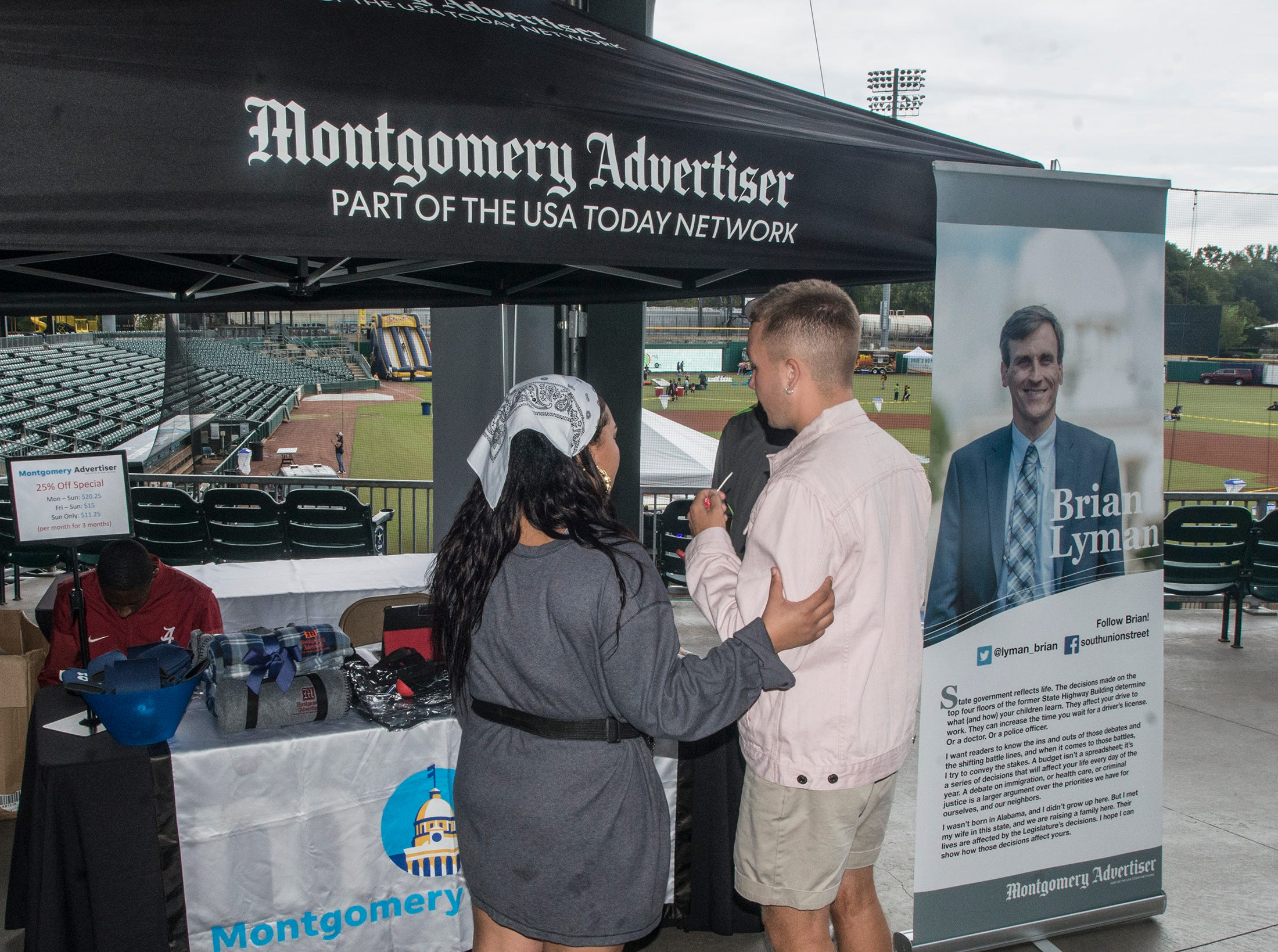 Gusts visit the Montgomery Advertiser tent. Food Truck Mash-Up returned to Riverwalk Stadium on Saturday, Oct. 20, 2018, bringing a variety of food trucks, music and games for guests to enjoy.