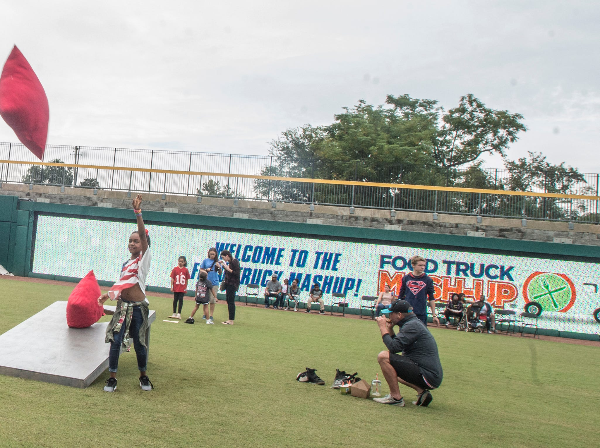 Guests play oversized games. Food Truck Mash-Up returned to Riverwalk Stadium on Saturday, Oct. 20, 2018, bringing a variety of food trucks, music and games for guests to enjoy.