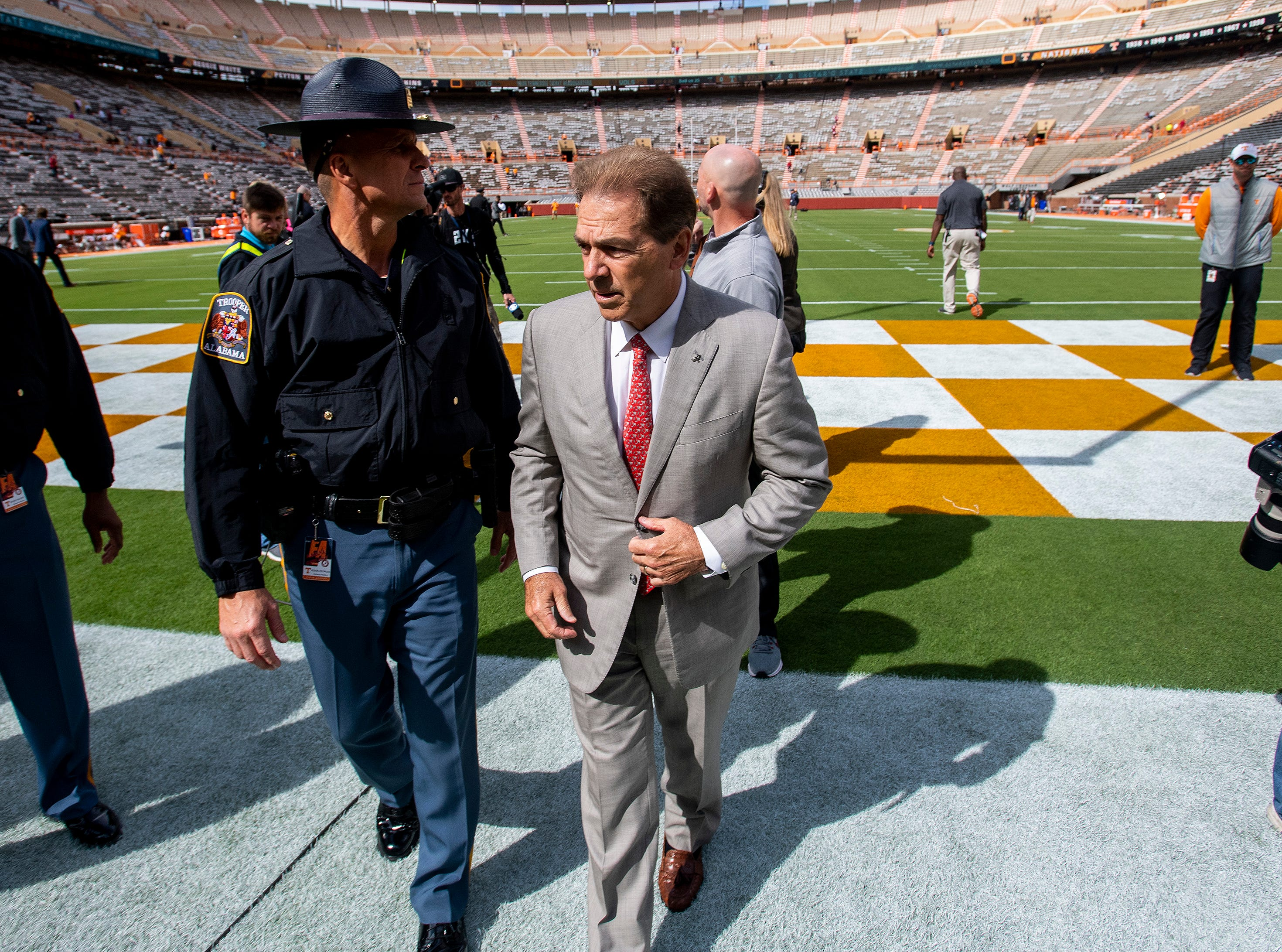 Alabama head coach Nick Saban walks the field as the team arrives for the Tennessee game at Neyland Stadium in Knoxville, Tn., on Saturday October 20, 2018.