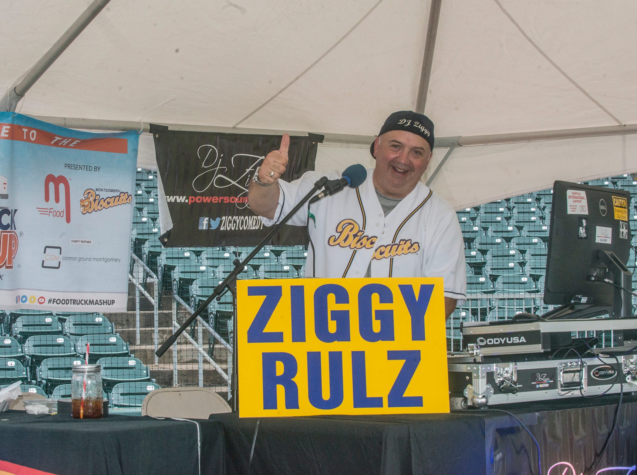 D.J. Ziggy was playing music and entertaining the crowd. Food Truck Mash-Up returned to Riverwalk Stadium on Saturday, Oct. 20, 2018, bringing a variety of food trucks, music and games for guests to enjoy.