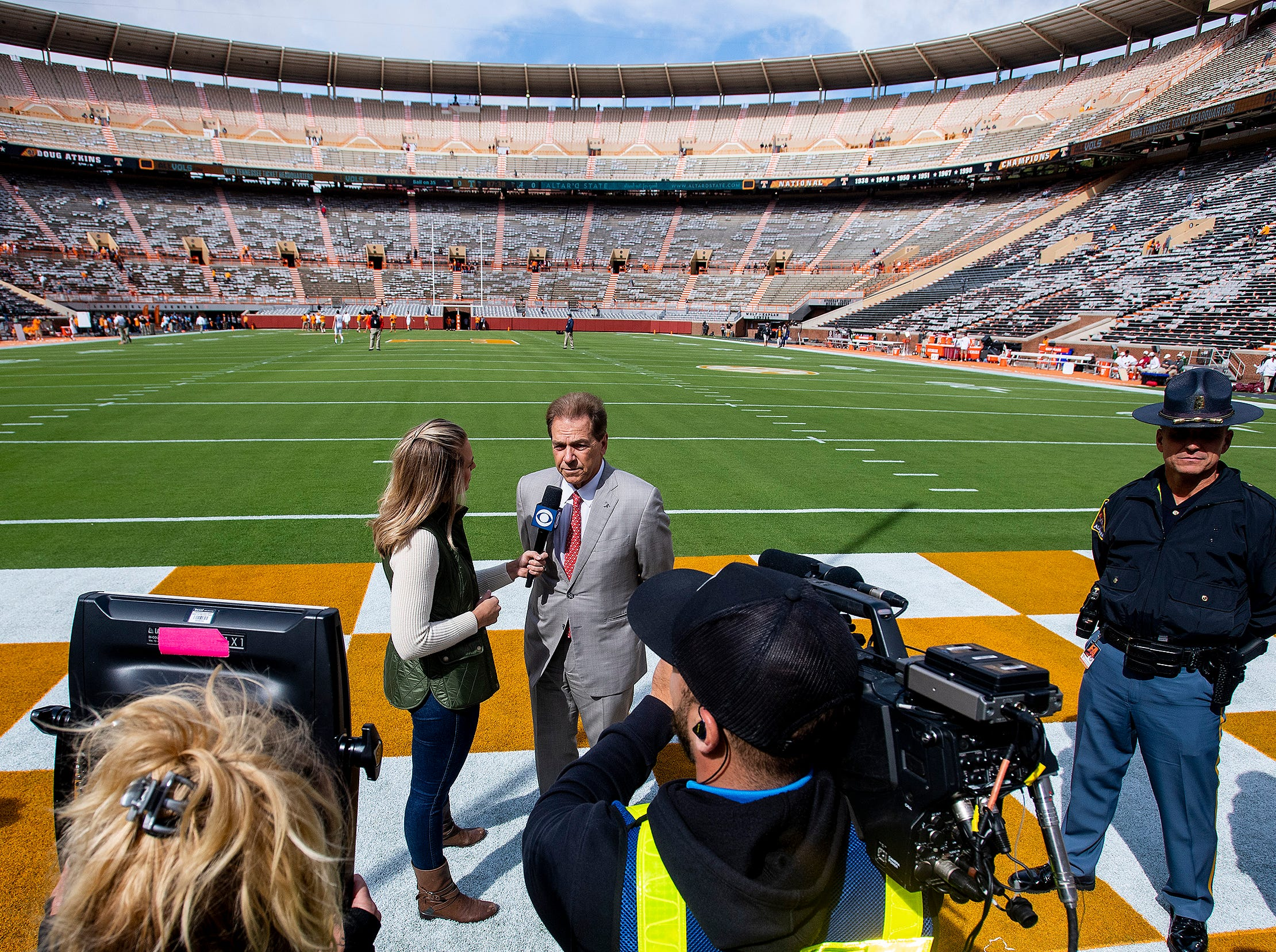 Alabama head coach Nick Saban is interviewed as the team arrives for the Tennessee game at Neyland Stadium in Knoxville, Tn., on Saturday October 20, 2018.