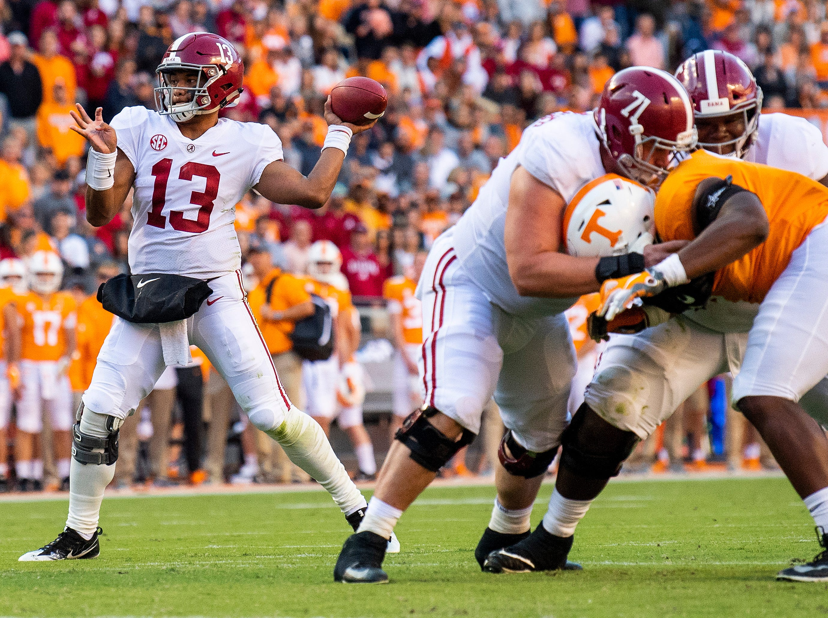 Alabama quarterback Tua Tagovailoa (13) throws against Tennessee in first half action at Neyland Stadium in Knoxville, Tn., on Saturday October 20, 2018.