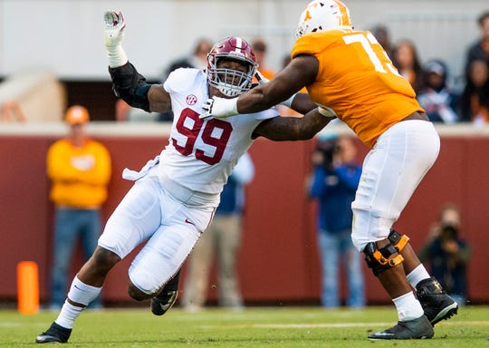 Alabama defensive lineman Raekwon Davis (99) plays against Tennessee in second half action at Neyland Stadium in Knoxville, Tn., on Saturday October 20, 2018.