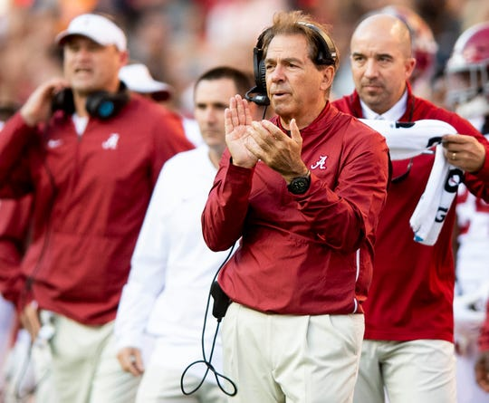 Alabama head coach Nick Saban in first half action against Tennessee at Neyland Stadium in Knoxville, Tn., on Saturday October 20, 2018.