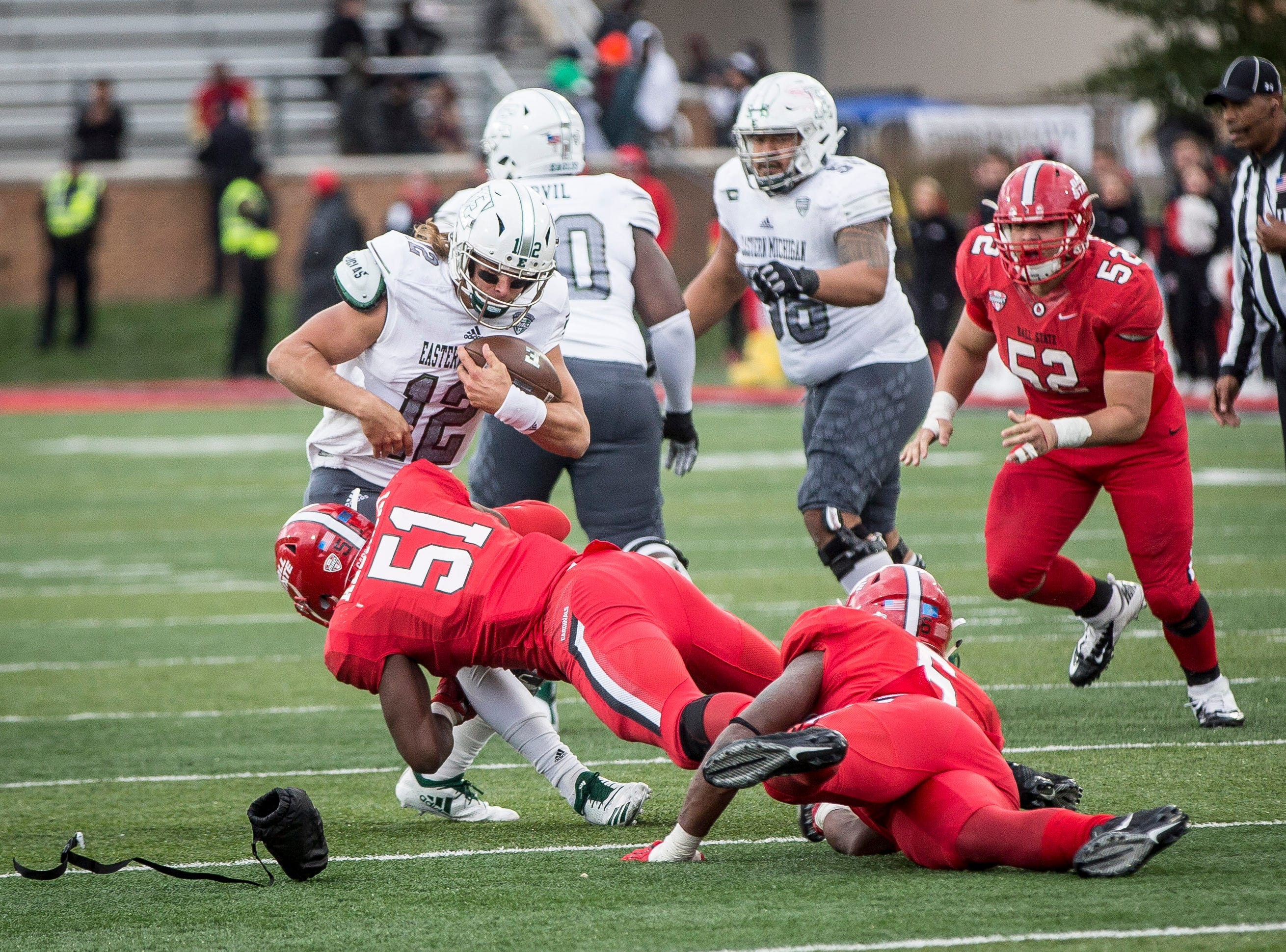 Ball State lost to Eastern Michigan Saturday afternoon at Scheumann Stadium for their homecoming game. Eastern Michigan won with a final score of 42-20.